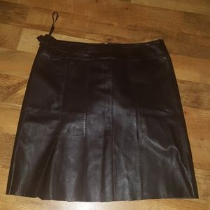 Cache  Dark Brown Leather Pletted Skirt Size 12